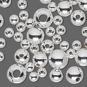 bead mix, sterling silver, 5-10mm seamless round. sold per 1-troy ounce pkg, approximately 55-60 beads.