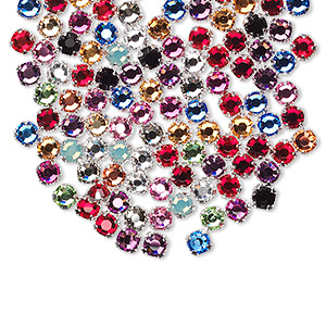 bead mix, swarovski crystals and silver-plated pewter (tin-based alloy), mixed colors, 3-3.2mm rose montees with 0.4-0.6mm hole (53100), ss12. sold per pkg of 144 (1 gross).