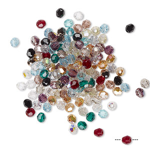 bead mix, swarovski crystals, crystal passions, mixed colors, 3mm faceted round (5000). sold per pkg of 720 (5 gross).
