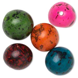 bead mix, tagua nut (dyed), mixed colors, 14-18mm round. sold per pkg of 5.
