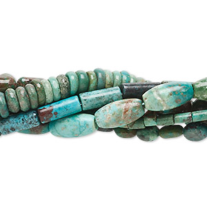 bead mix, turquoise (dyed / stabilized), blue, 3x1mm-15x10mm mixed shapes. c- grade, mohs hardness 5 to 6. sold per pkg of six 16-inch strands.
