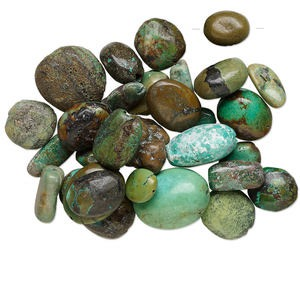 bead mix, turquoise (dyed / stabilized), blue, small to extra-large nugget and 10x5mm-35x25mm oval, d grade, mohs hardness 5 to 6. sold per 1/4 pound pkg, approximately 10-40 beads.