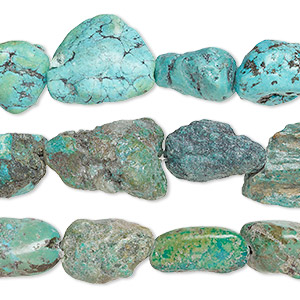 bead mix, turquoise (dyed / stabilized), mini to extra-large nugget, mohs hardness 5 to 6. sold per pkg of (3) 15-inch strands.