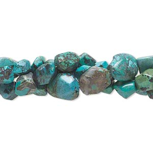 bead mix, turquoise (dyed / stabilized), mini to large faceted nugget, mohs hardness 5 to 6. sold per pkg of (3) 15-inch strands.