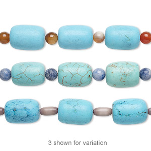 bead mix, turquoise (imitation) / multi-gemstone (natural / dyed / heated) / glass, blue-green and blue, 5-6mm round / 6x4mm-9x6mm barrel / 16x11mm-17x13mm round tube. sold per pkg of 7.