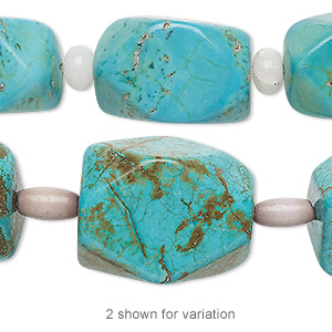 bead mix, turquoise (imitation) / snow quartz (natural) / cats eye glass, blue and lavender, 6x4mm rondelle / 9x5mm barrel / large faceted nugget. sold per pkg of 7.