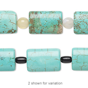 bead mix, turquoise (imitation) / white agate (natural) / glass, blue-green and black, 5mm round / 7x5mm barrel / 17x12mm-18x12mm puffed rectangle. sold per pkg of 7.