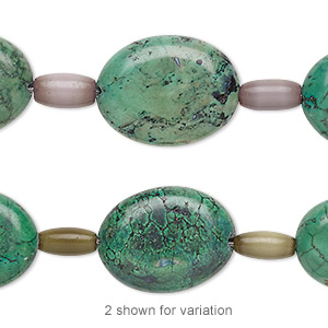 bead mix, turquoise (imitation) and cats eye glass, forest green / camo green / lavender, 8x4mm-9x5mm barrel and 20x15mm-21x16mm puffed oval. sold per pkg of 7.