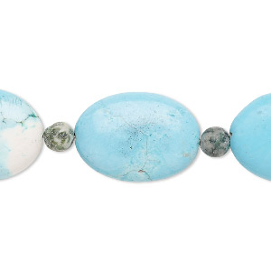 bead mix, turquoise (imitation) and ching hai jade (natural), blue, 6mm round and 25x18mm puffed oval. sold per pkg of 7.