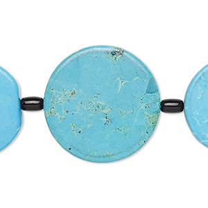 bead mix, turquoise (imitation) and glass, blue and black, 6x4mm barrel / 25mm flat round / 30mm flat round. sold per pkg of 7.