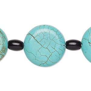 bead mix, turquoise (imitation) and glass, blue-green and black, 6x4mm barrel and 22mm puffed flat round. sold per pkg of 7.