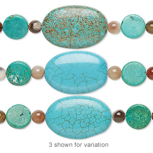 bead mix, turquoise (imitation) and multi-agate (natural / dyed / heated), blue / blue-green / green, 5-6mm round / 11-12mm flat round / 29x29mm-30x20mm puffed oval. sold per pkg of 7.