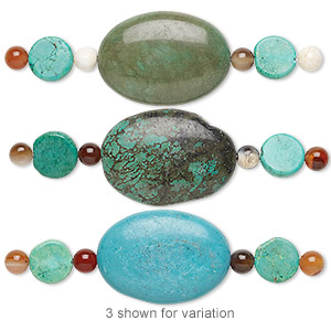 bead mix, turquoise (imitation) and multi-agate (natural / dyed / heated), green / blue-green / dark teal, 5-6mm round / 11-12mm flat round / 34x24mm-35x25mm puffed oval. sold per pkg of 7.