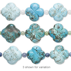 bead mix, turquoise (imitation) and multi-gemstone (natural / dyed / heated), blue and light blue, 5-6mm round and 25x25mm-26x26mm carved flower. sold per pkg of 7.