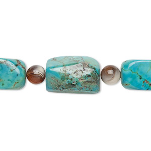 bead mix, turquoise (imitation) and multi-gemstone (natural / dyed / heated), multicolored, 5-6mm round and medium tumbled nugget. sold per pkg of 7.
