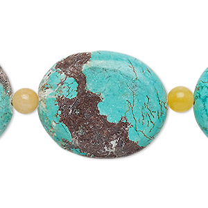 bead mix, turquoise (imitation) and peach quartz (natural), blue-green, 6mm round and 29x24mm-30x25mm flat oval. sold per pkg of 7.