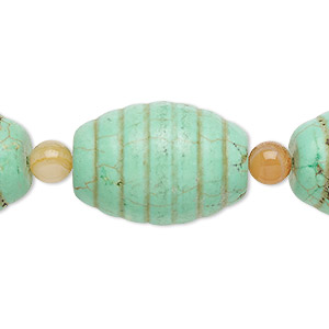 bead mix, turquoise (imitation) and red agate (dyed / heated), green, 6mm round and 25x18mm carved oval. sold per pkg of 7.