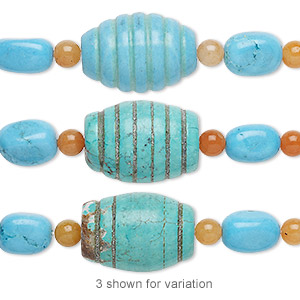 bead mix, turquoise (imitation) and red aventurine (natural), blue-green and blue, 6mm round / small nugget / 25x18mm carved barrel. sold per pkg of 7.