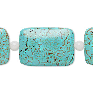 bead mix, turquoise (imitation) and snow quartz (natural), blue-green, 5-6mm round and 34x24mm-35x25mm puffed rectangle. sold per pkg of 7.