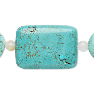 bead mix, turquoise (imitation) and white agate (natural), blue-green, 6mm round / 18mm puffed flat round / 35x26mm puffed rectangle. sold per pkg of 7.