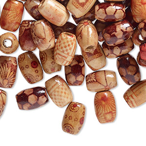 bead mix, wood (coated), multicolored, 12x8mm hand-cut oval with painted pattern. sold per pkg of 100.