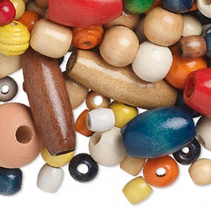 bead mix, wood (dyed), mixed colors, 10x9.5mm-60.5x40mm mixed shape. sold per 1-1/4 pound pkg, approximately 270 beads.