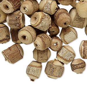 bead mix, wood (natural), 6x5mm-12x11mm round / round tube / barrel with bark. sold per 2-ounce pkg, approximately 270 beads.