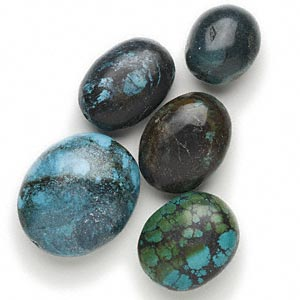 bead mix, yellow turquoise (dyed), blue, 35x25mm-58x50mm oval, d grade, mohs hardness 3-1/2 to 4. sold per pkg of 5.