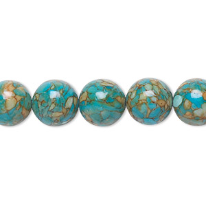 bead, mosaic turquoise (dyed / assembled), blue, 10mm round, mohs hardness 3-1/2 to 4. sold per 16-inch strand.