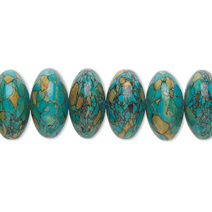 bead, mosaic turquoise (dyed / assembled), blue, 12x6mm-14x8mm rondelle, mohs hardness 3-1/2 to 4. sold per 16-inch strand.