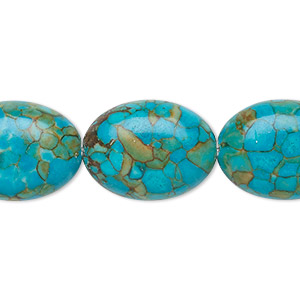bead, mosaic turquoise (dyed / assembled), blue, 20x15mm oval, mohs hardness 3-1/2 to 4. sold per 16-inch strand.