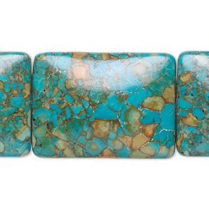 bead, mosaic turquoise (dyed / assembled), blue, 30x22mm rectangle, mohs hardness 3-1/2 to 4. sold per pkg of 6.