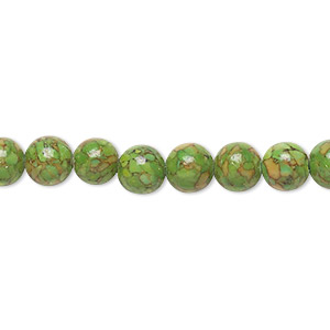 bead, mosaic turquoise (dyed / assembled), green, 6mm round, mohs hardness 3-1/2 to 4. sold per 16-inch strand.