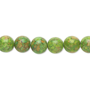 bead, mosaic turquoise (dyed / assembled), green, 8mm round, mohs hardness 3-1/2 to 4. sold per 16-inch strand.