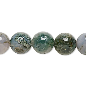 bead, moss agate (natural), 12mm round, b grade, mohs hardness 6-1/2 to 7. sold per 16-inch strand.