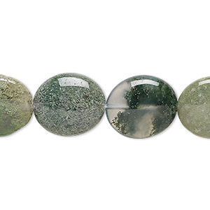 bead, moss agate (natural), 16x14mm flat oval, b grade, mohs hardness 6-1/2 to 7. sold per 16-inch strand.