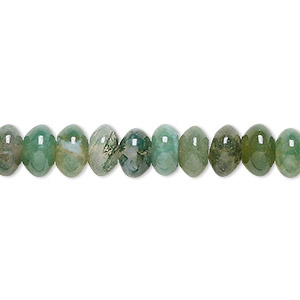 bead, moss agate (natural), 8x5mm rondelle, b grade, mohs hardness 6-1/2 to 7. sold per 16-inch strand.