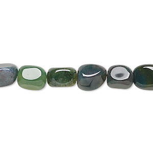 bead, moss agate (natural), medium tumbled pebble, mohs hardness 6-1/2 to 7. sold per 16-inch strand.