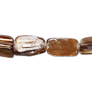 bead, mother-of-pearl shell (coated), dark gold, small to medium rectangular nugget, mohs hardness 3-1/2. sold per 15-inch strand.
