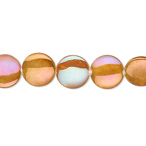 bead, mother-of-pearl shell (dyed / coated), gold, 10mm flat round, mohs hardness 3-1/2. sold per 15-inch strand.
