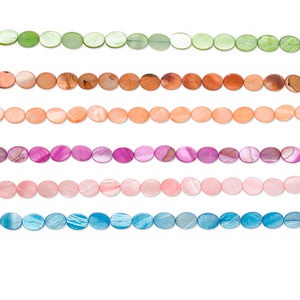 bead, mother-of-pearl shell (dyed), assorted colors, 12x10mm flat oval, mohs hardness 3-1/2. sold per pkg of (6) 16-inch strands.