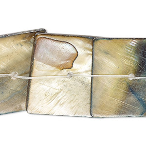 bead, mother-of-pearl shell (dyed), beige and dark ocean blue, 24x24mm-26x26mm center-drilled flat square, mohs hardness 3-1/2. sold per 15-inch strand.