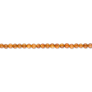 bead, mother-of-pearl shell (dyed), dark amber, 2mm round. sold per 16-inch strand.