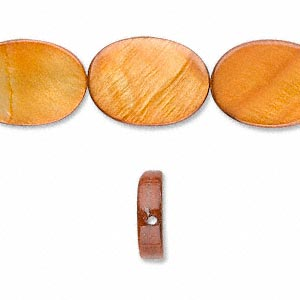 bead, mother-of-pearl shell (dyed), dark amber yellow, 18x13mm flat oval. sold per 16-inch strand.