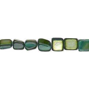 bead, mother-of-pearl shell (dyed), forest green, small tumbled pebble. sold per 15-inch strand.