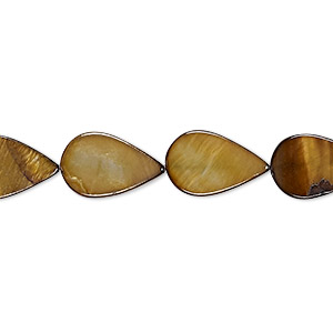 bead, mother-of-pearl shell (dyed), gold, 13x9mm-14x9mm flat teardrop, mohs hardness 3-1/2. sold per 15-inch strand.