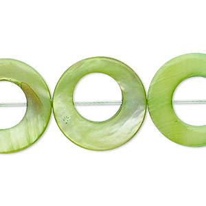 bead, mother-of-pearl shell (dyed), green, 20mm round donut, mohs hardness 3-1/2. sold per 16-inch strand.