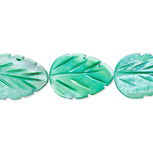 bead, mother-of-pearl shell (dyed), mint green, 18x13mm carved leaf, mohs hardness 3-1/2. sold per 15-inch strand.