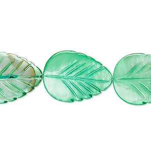 bead, mother-of-pearl shell (dyed), mint green, 20x15mm carved leaf, mohs hardness 3-1/2. sold per 15-inch strand.