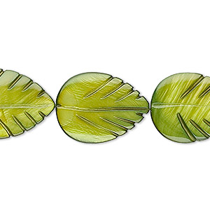 bead, mother-of-pearl shell (dyed), moss green, 20x15mm carved leaf. sold per 16-inch strand.